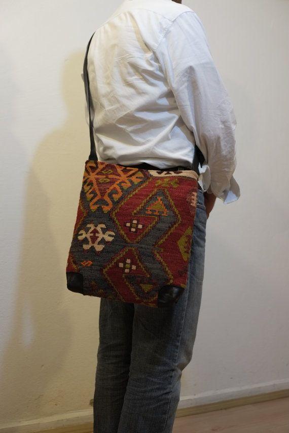 Unisex Handwoven shoulder kilim bag-Unique Handmade by kilimci