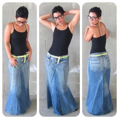 saia longa feita de calça jeans   =^.^= Gato de Sapato