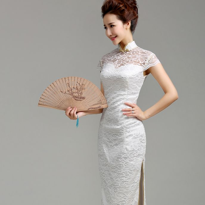 Special Dresses White Lace Dress Cap Sleeve : Long mandarin collar sheath dress white Chinese cheongsam | Modern ...