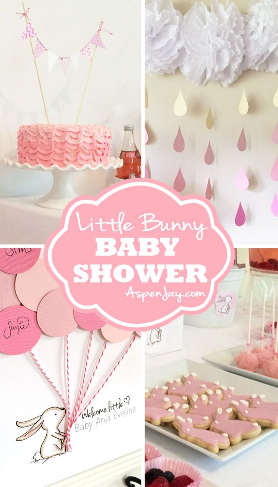 Adorable bunny baby shower ideas! With lots of free printables to help you throw the shower, including a super cute bunny guest book printable. YOU definitely need to click on this site!