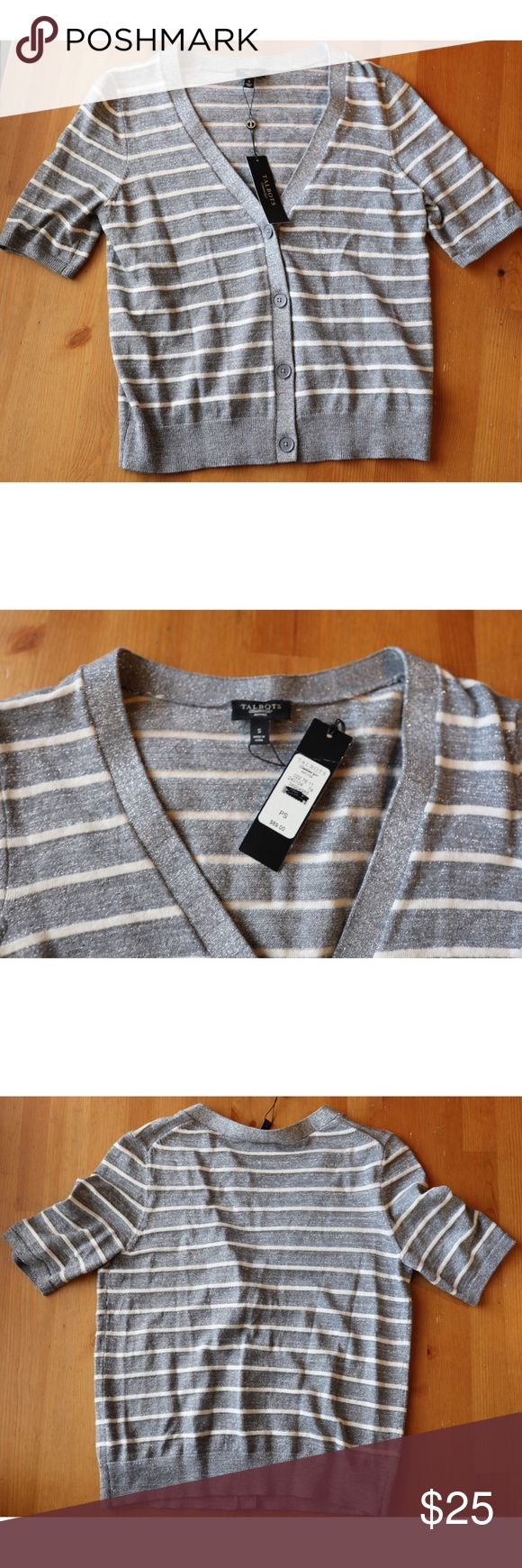 """Talbots Striped Metallic Cardigan Sweater S Talbots Striped Metallic Cardigan Sweater, S.   Laying flat it measures approximately: shoulder to bottom 20 1/2"""", armpit to armpit 17"""".  Excellent condition & NWT. Smoke free home. Thanks! Talbots Sweaters Cardigans"""