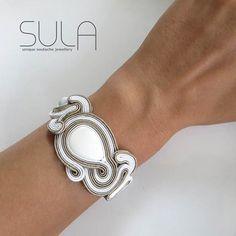 Unique Beige Soutache Cuff Bracelet white Bracelet  by sutaszula