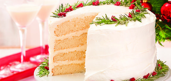Christmas Sugar Cookie Cake. I love the sugared rosemary and cranberries on this cake! Simple but beautiful!