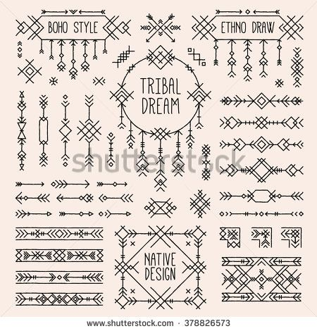Tribal elements set. Boho style arrows, native ornament stripes. Folk geometric dividers, ethnic borders, stylized dream catcher. Indian bohemian collection of simple linear art. Native tattoo sketch.
