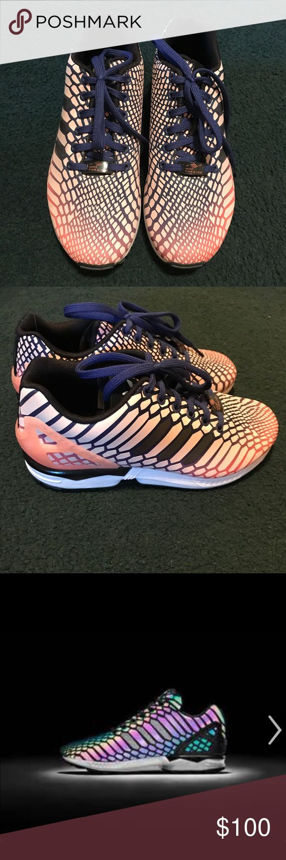 Women's Adidas Flux light up shoes size 8 Women's Adidas Flux shoes size 8. These light up in the dark when exposed to light. Quite the show stopper and attention getter. Worn once.  Very rare. No box. No trades, offers accepted. Adidas Shoes Athletic Shoes
