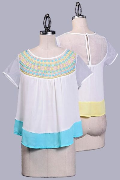 TULLE DETAILED SHORT SLEEVE AND BACK EMBROIDERED SOLID TOP