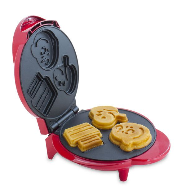 Features:  -Easy to clean.  -Non-stick coating.  -Recipe booklet included.  -Red color.  -Makes 3 perfect oeanuts waffles every time.  -Make fun snoopy and charlie brown character waffles at home in m