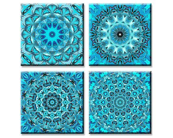 Turquoise Mandala Art, Printable Traditional Patterns