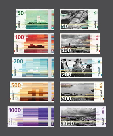 Beautiful. Norway's central bank has selected pixellated designs by Oslo design studio Snøhetta to feature on the back of the country's new banknotes.