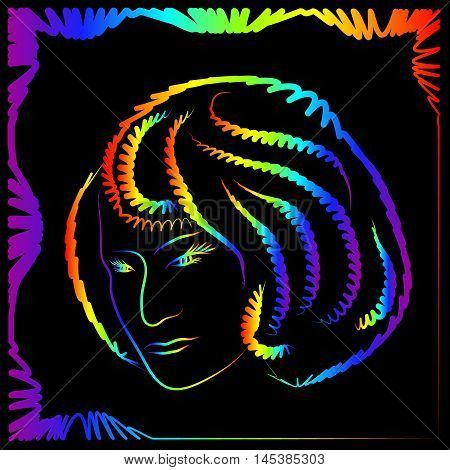 Silhouette of a woman with a bob hairstyle. Portrait of a neon outline on a…