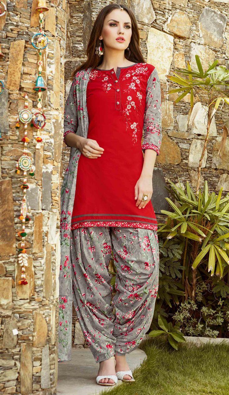 Fashionnow Red Cotton Patiala Salwar Kameez