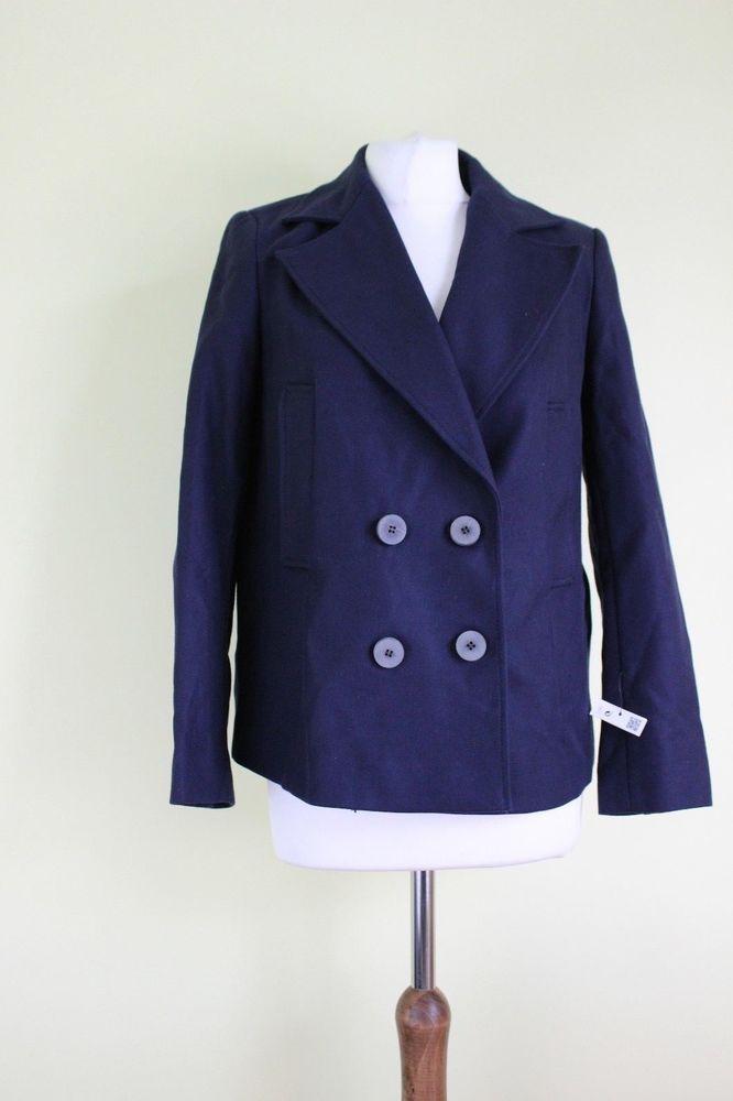 ZARA  new navy dark blue cotton women coat button jacket Mantel Size S UK 8 #Zara #Outdoor