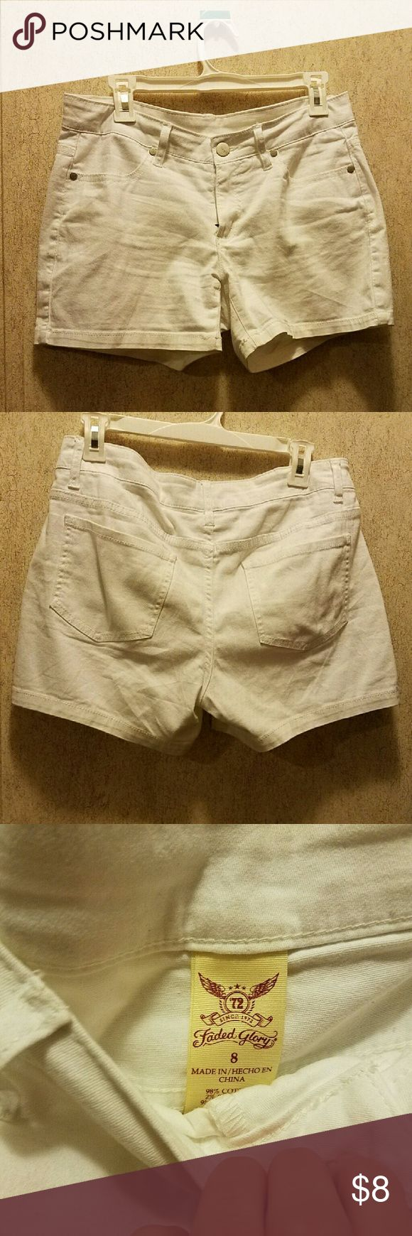 White jean shorts size 8 Worn a handful of times. Size 8. Fit like a 6 Shorts Jean Shorts