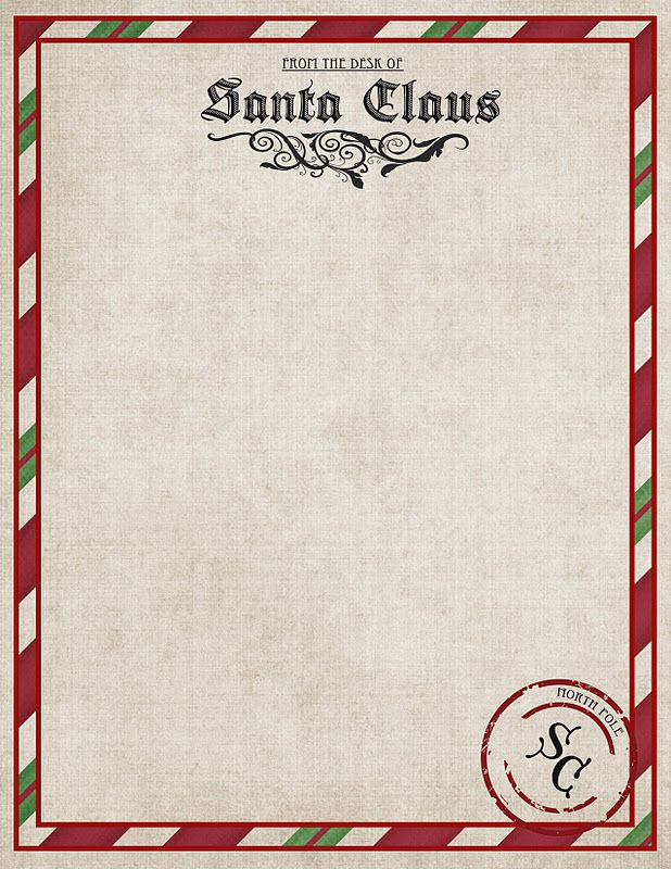 Free Printable ~ Great for letters from Santa or December Newsletter.