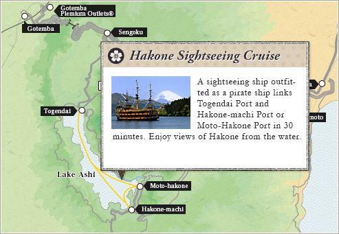 Hakone Sightseeing Cruise : A sightseeing ship outfitted as a pirate ship links Togendai Port and Hakone-machi Port or Moto-Hakone Port in 30 minutes. Enjoy views of Hakone from the water.