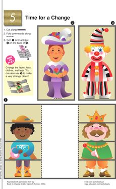 Kindergarten Paper Projects Worksheets: Costume Change Cut-Out