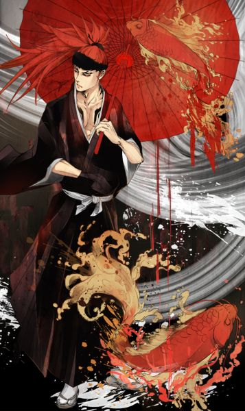 A 'FanArt' depiction of the character Abarai Renji from the adult anime Bleach. Bleach deals heavily with issues of death, the after life, and karmic debt.