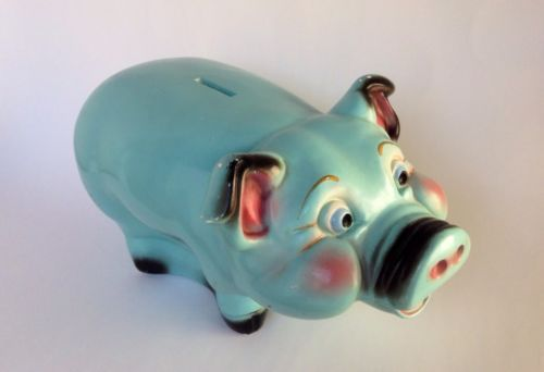 A n brooks chalkware piggy bank blue coin pig vintage large 14 usa change - Farting piggy bank ...