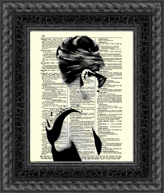 Audrey Hepburn In Pearls And Sunglasses Dictionary Art Print, Buy 2 Get 1 Free, Home Decor, Wall Decor, Dictionary Page Art, Mixed Media Art on Etsy, $10.00
