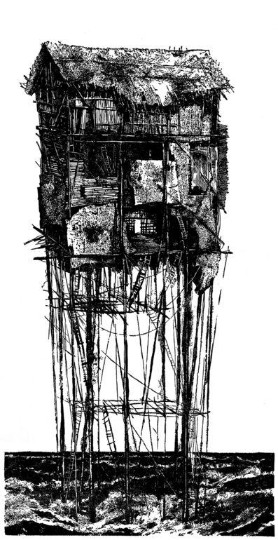 "Saatchi Online Artist: Malgorzata Stanielewicz; Linocuts Printmaking ""Locus Fixus"""
