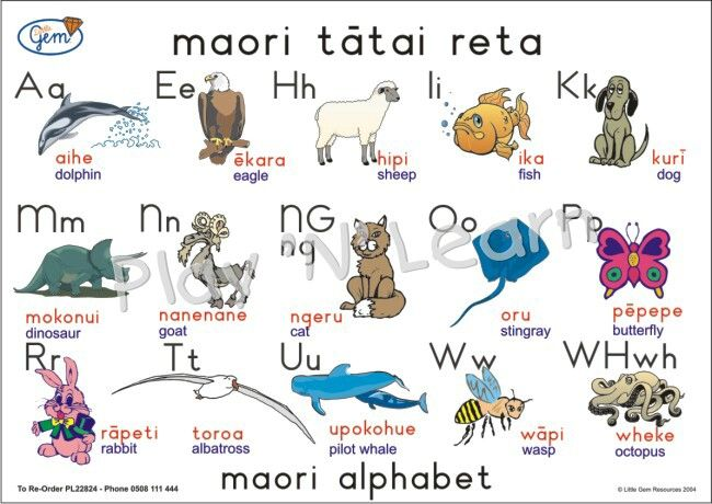 Maori alphabet with pictures