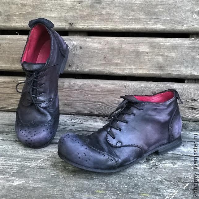 Купить Кожаные броги Черные N1 - черный, ботинки, ботинки женские, ботинки мужские
