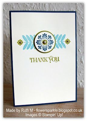 Stampin' Up! CAS  by Ruth M at Flower Sparkle.  Thats definitely the nicest card I have seen made with that SAB set. Nice and simple.