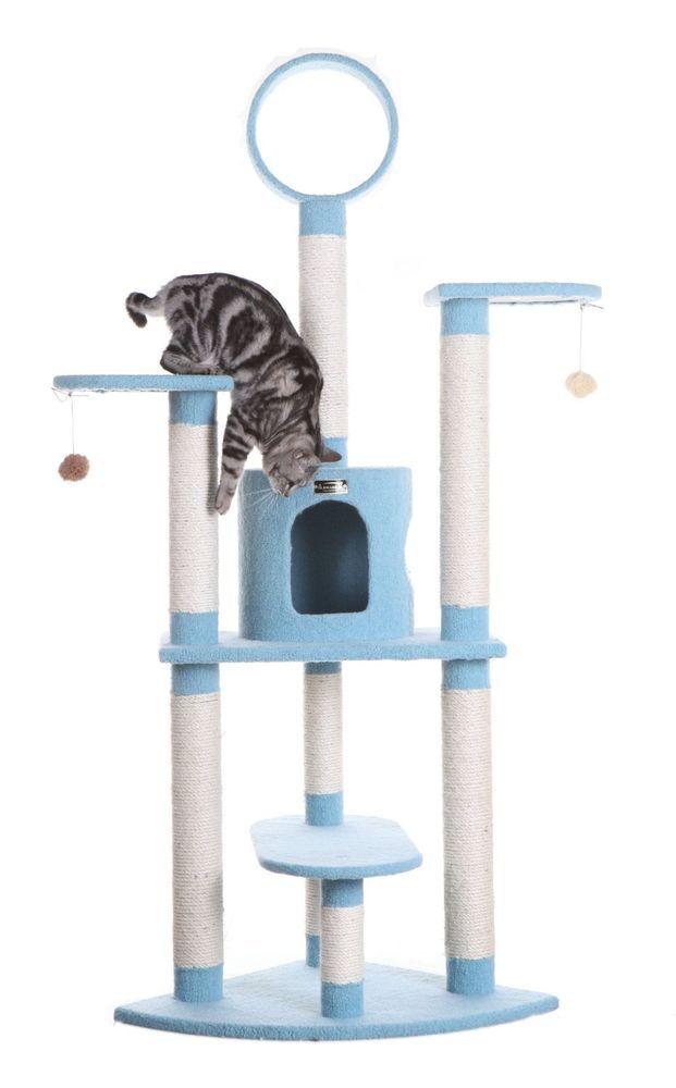 "Cat Tree Furniture 66"" Condo Blue Scratcher Kitten House Deluxe Activity Center #Armarkat"