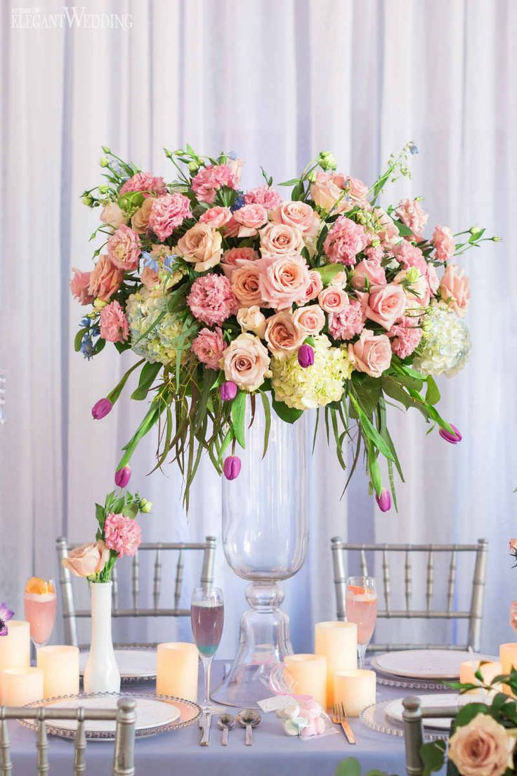 Pink Floral Centrepiece, Whimsical Wedding Table Setting | Cherry Blossom Wedding Ideas www.elegantwedding.ca