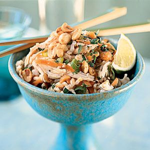 Sesame Brown Rice Salad with Shredded Chicken and Peanuts | MyRecipes.com
