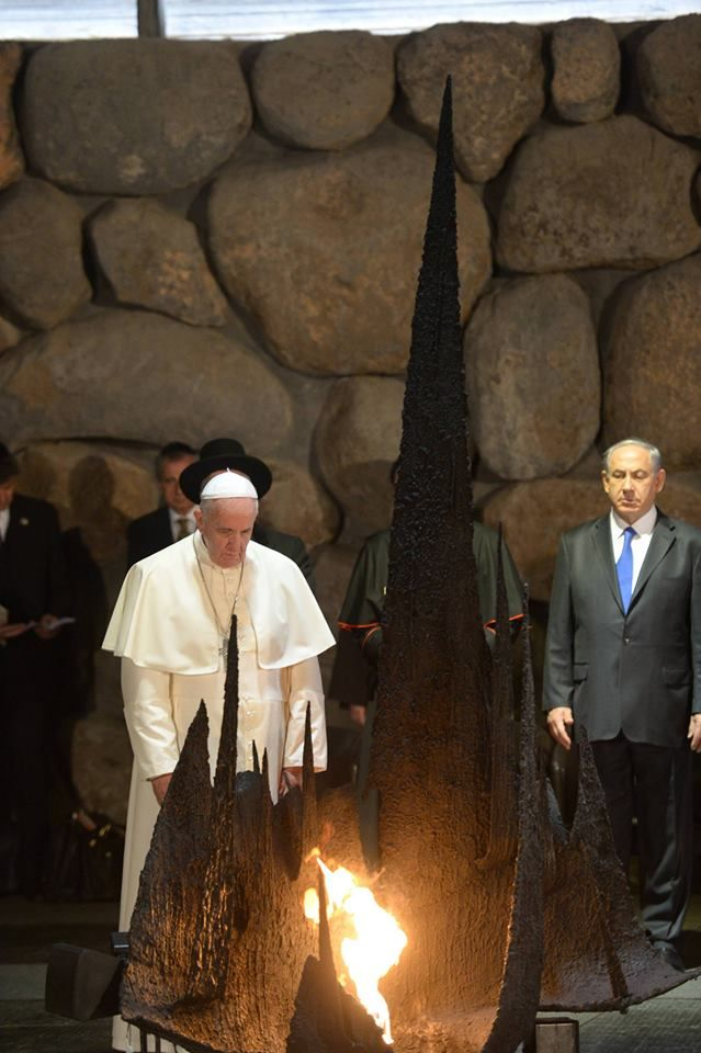 """Pope Francis met with Holocaust survivors at Yad VaShem memorial to the Jewish victims of the Holocaust: """"Never again, Lord. Never again"""" https://www.facebook.com/IsraelMFA"""