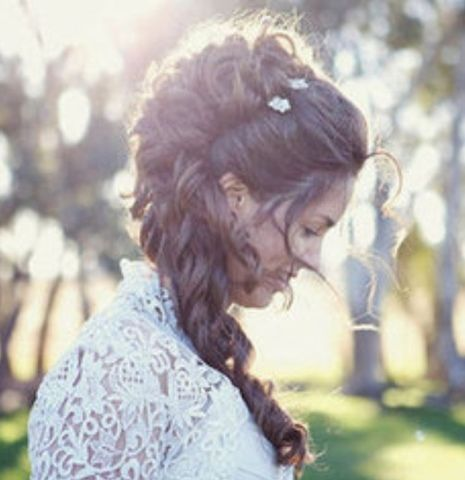 Vintage/Victorian hairstyle... oooo, curls and mostly half up half down and we could put the veil up where I want it and still be lovely. :D @Beth Tayler