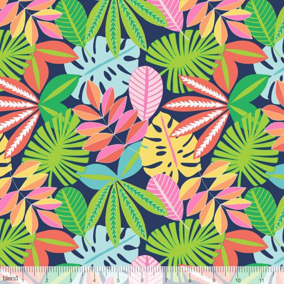 Abstract Squares /& Palm Leaves Fabric Upholstery Curtains Crafts Textiles Sewing
