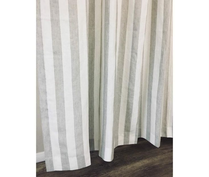 Natural Linen Striped Curtain Custom Curtains Linen Stripe Weave