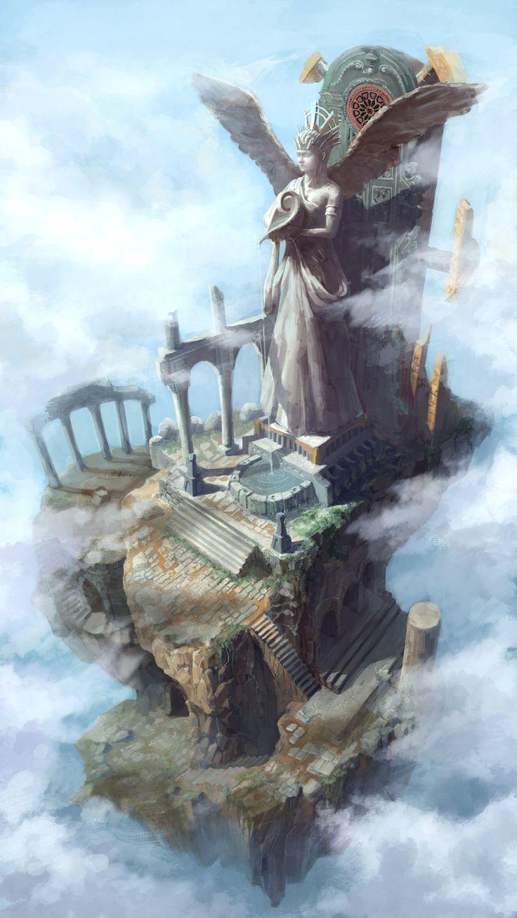 Levitation temple, dea bum Kim on ArtStation at https://www.artstation.com/artwork/NGeNP