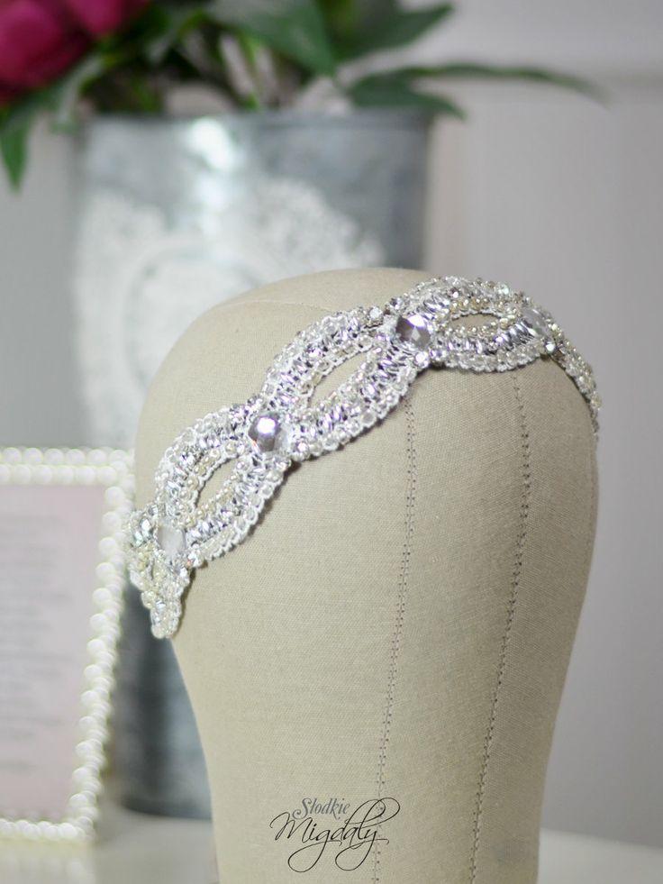 Bridal headband, beaded headband, lace hair accessory