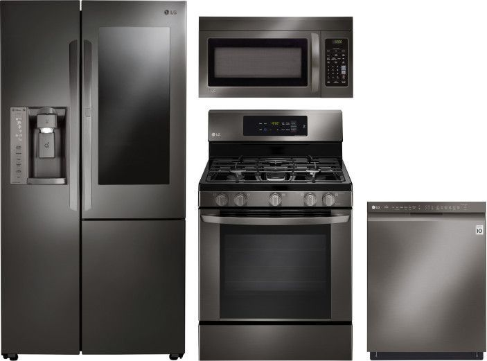 Lg 4 Piece Kitchen Appliances Package With Side By Side Refrigerator Gas Range Dishwasher And Over The Range Microwave In Black Stainless Steel Blac