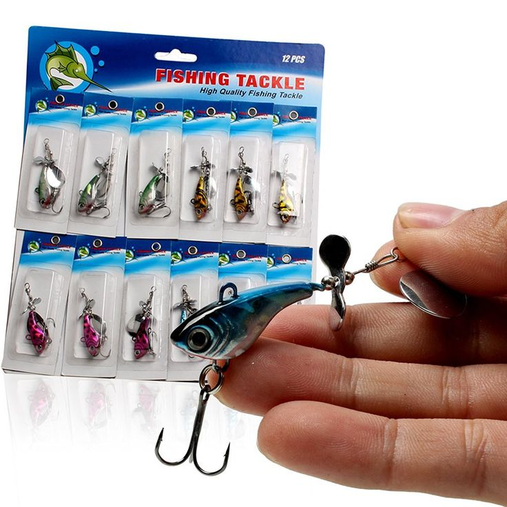 Sougayilang Spin Tail Blade Jig Fishing Lures Baits with 3D Eyes Metal Body for Saltwater Freshwater Fishing 12Pcs/Card >>> Check this awesome product by going to the link at the image.