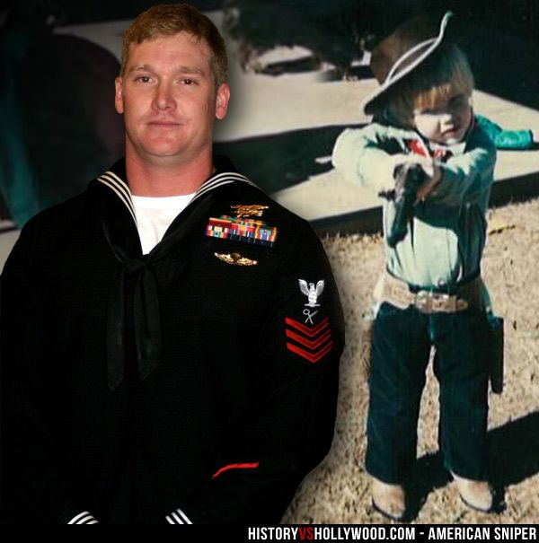 Navy SEAL sniper Chris Kyle as an adult and as a child. Bradley Cooper portrays Chris Kyle in the American Sniper war movie directed by Clint Eastwood. See more Chris Kyle pictures: http://www.historyvshollywood.com/reelfaces/american-sniper/