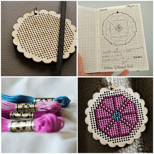 Cross stitch pendants from the workroom