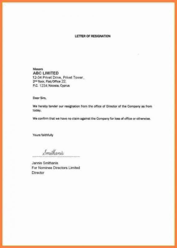 Resign Letter Template Resignation Letter Resignation Template
