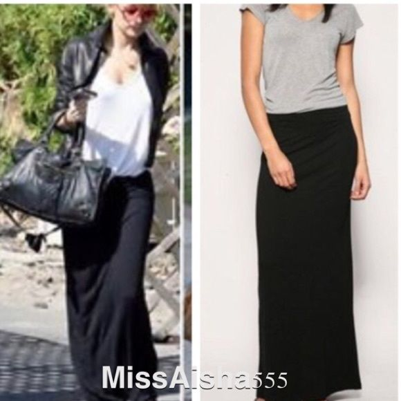 Black Straight Maxi Skirt ONE HOUR SALE Boutique