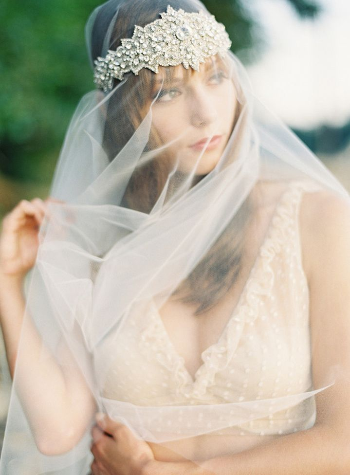 gorgeous full veil with jeweled bridal headpiece
