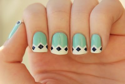 diamond: Diamonds Nails, Mint Green, Nails Art, Cute Nails, Mint Nails, Nails Design, Nailsart, French Tips, Retro Nails