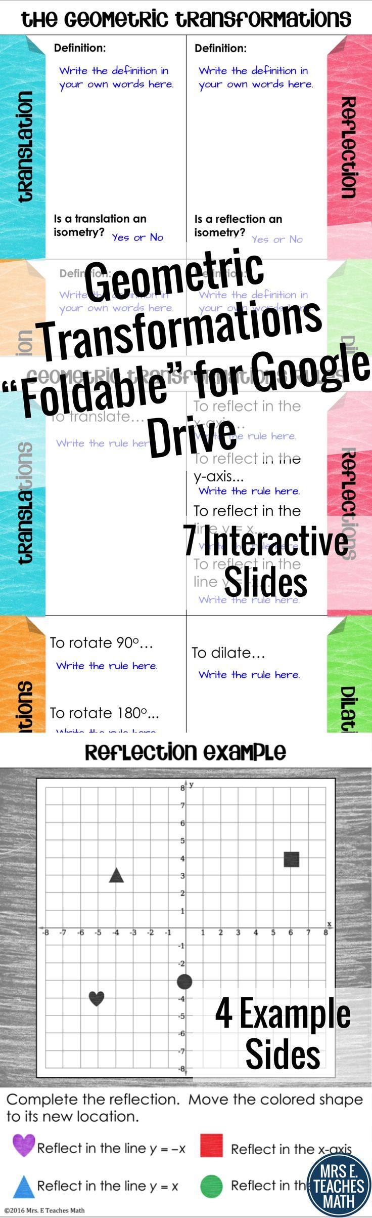 Geometric Transformations Foldable Activity for Google Drive - 7 interactive slides for students to create their own definitions and practice examples - for high school geometry