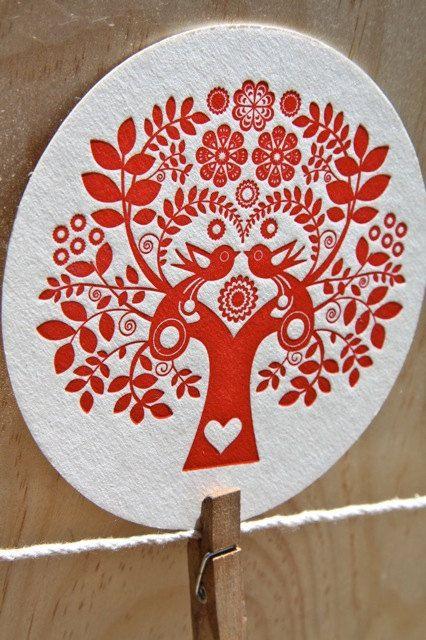 Letterpress Coaster Scandinavian Folk Style Tree of Life Red set of four (4). $8.00, via Etsy.