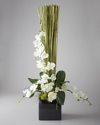 """""""Timeless"""" Floral Arrangement by John-Richard Collection - Elephant reed and orchids combine in this distinctive arrangement, creating the perfect balance of rustic and refined style"""