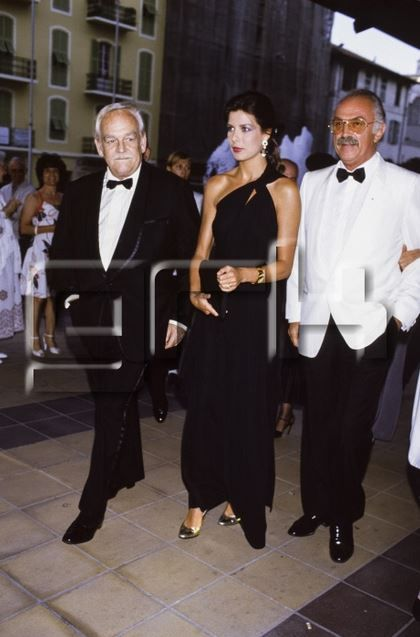 Prince Rainier of Monaco with her daughter Princess Caroline of Monaco and Jacques Medecin in June 1985 in Nice, France.