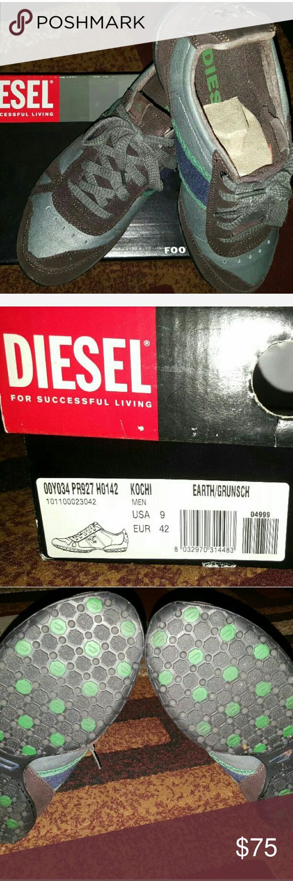 Men's Diesel Shoes Size 9 Diesel Shoes (used once) Model type: Kochi Size 9 Used once , still in good condition Box included Make me an offer Diesel Shoes Sneakers