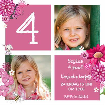 Kinderfeestje Meisje Blok Roze - Uitnodigingen - Kaartje2go